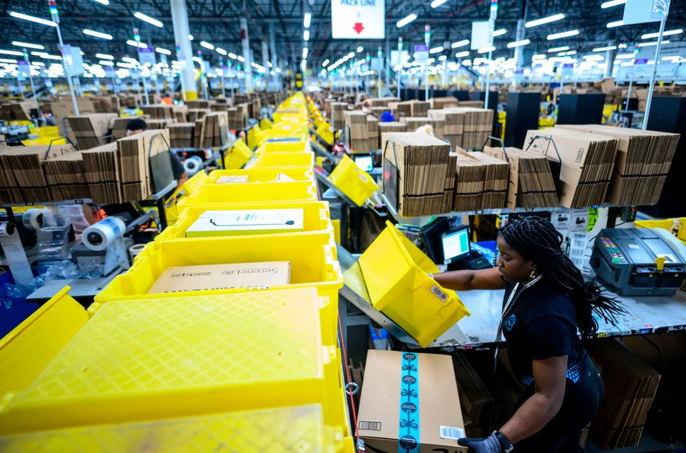 Inside Amazon's fulfillment center in Staten Island. Christian Smallsled a walkoutthere last year before he