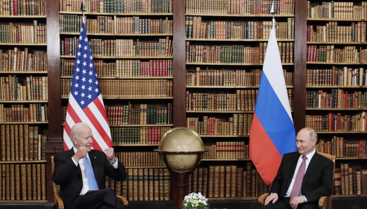 President Biden and Russia's President Putin meet for talks at the Villa La Grange on Wednesday.