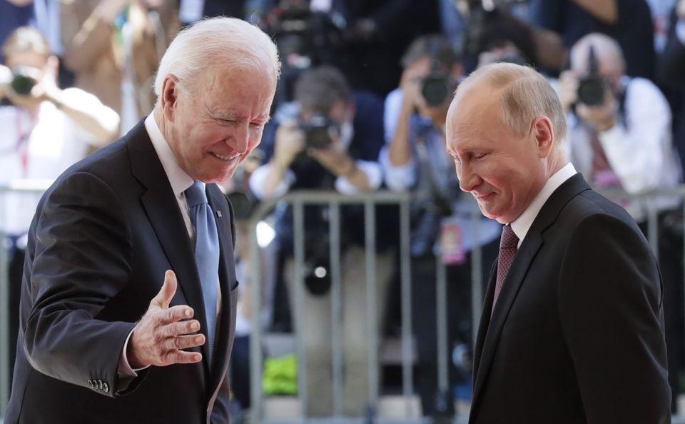 GENEVA, SWITZERLAND JUNE 16, 2021: US President Joe Biden (L) and Russia's President Vladimir Putin meet...