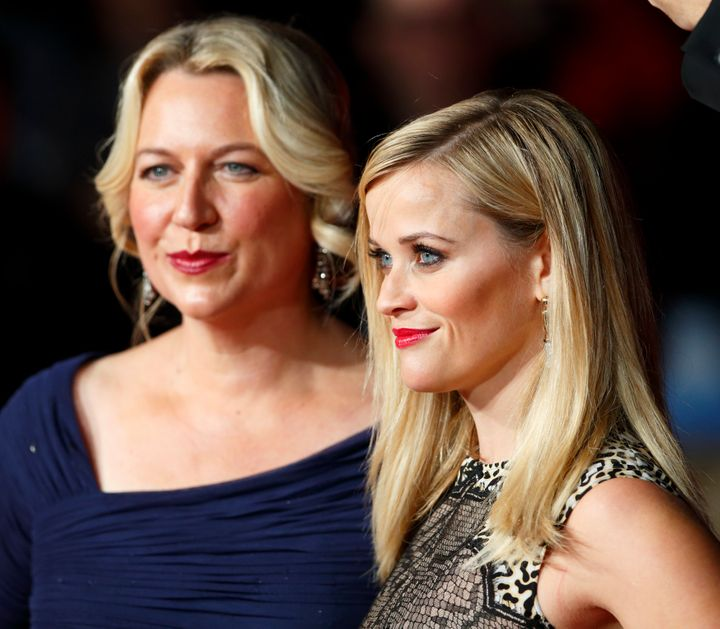 """Author Cheryl Strayed and Reese Witherspoon attend the premiere of """"Wild"""" during the 58th BFI London Film Festival on Oct. 13"""