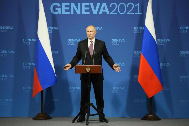 """Putin held a solo press conference after the US-Russia summit in Geneva.He said the meeting was """"very effective"""" and """"s"""