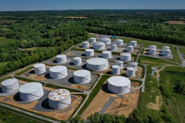 WOODBINE, MD - MAY 13: In an aerial view, fuel holding tanks are seen at Colonial Pipeline's Dorsey Junction...