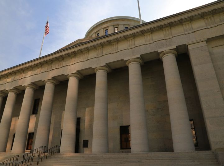 The Ohio Statehouse, located in Columbus, Ohio, is the house of government for the state of Ohio. The Greek Revival building