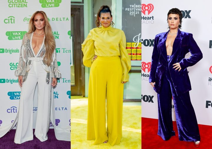 Jennifer Lopez, Aida Rodriguez and Demi Lovato all sported wide-legged pants at red carpet events over the past two months.