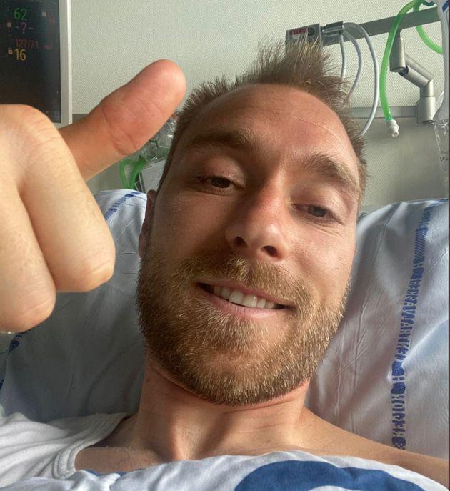 Christian Eriksen, ici photographié dans un hôpital de Copenhague, au Danemark, le 15 juin