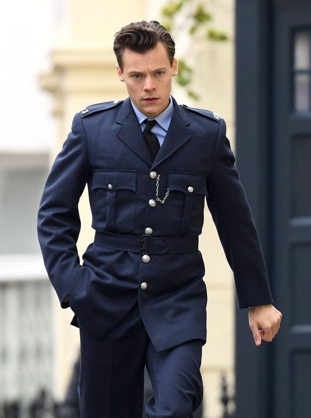 Harry Styles seen on the film set for My Policeman in