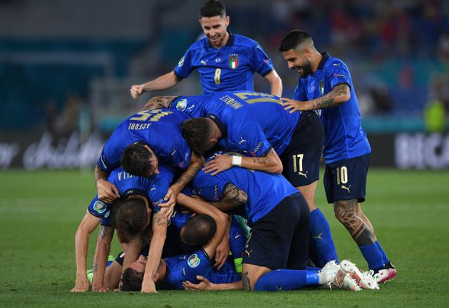 ROME, ITALY - JUNE 16: Manuel Locatelli of Italy celebrates with team mates after scoring their side's...