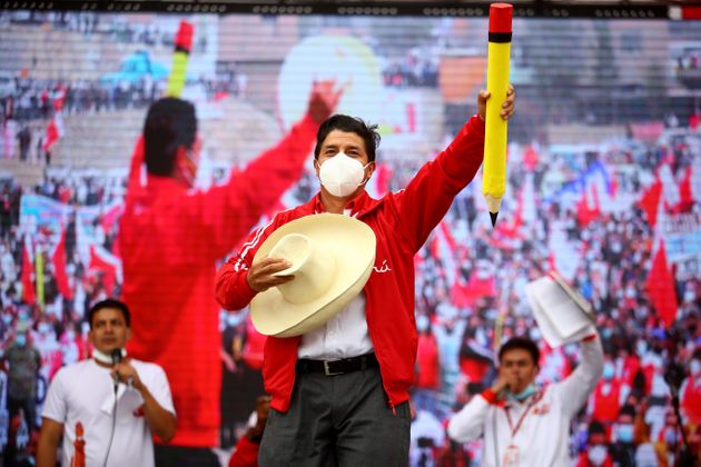 Pedro Castillo, en una imagen durante la campaña