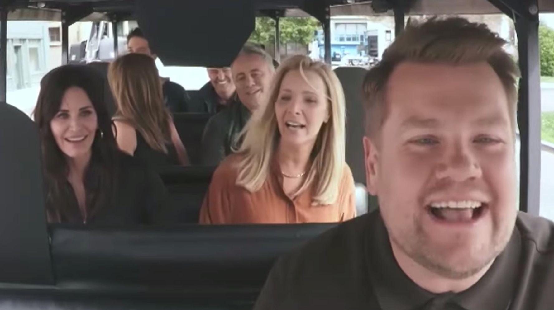 'Friends' Stars Do Mini 'Carpool Karaoke,' James Corden 'Nearly' Kills Them