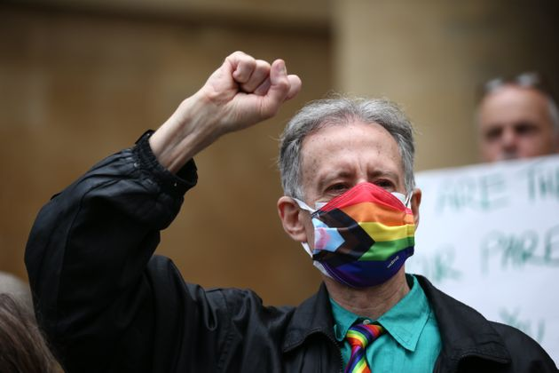 Peter Tatchell leading a march through London to mark the London Gay Liberation Front's 50th anniversary...