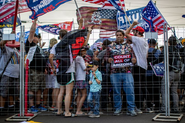 Trump supporters, driven by his lies that widespread election fraud had cost him the election, rallied outside the Arizona st