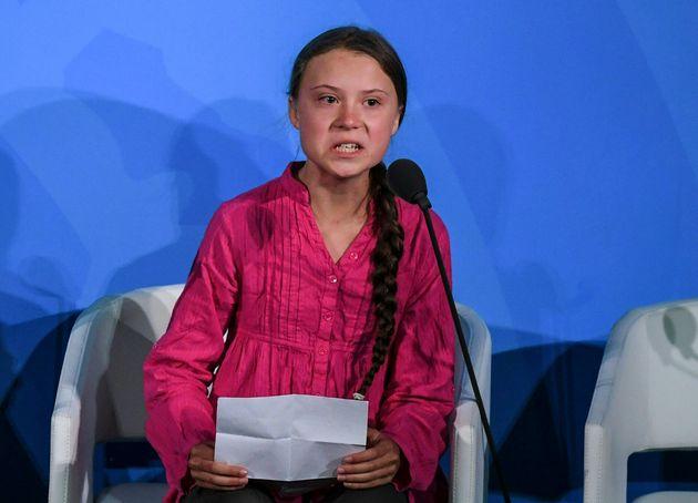 2019年、国連気候行動サミットでスピーチをするグレタ・トゥーンベリさん