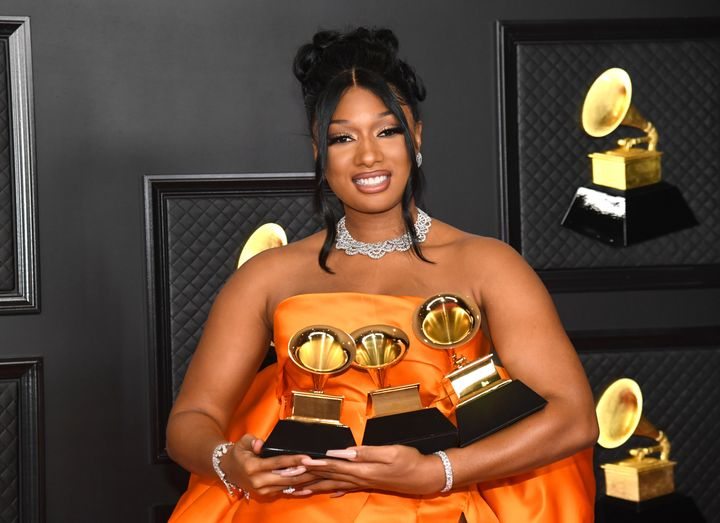 """Megan Thee Stallion, winner of Best Rap Performance and Best Rap Song for """"Savage"""" as well as Best New Artist, poses in the m"""