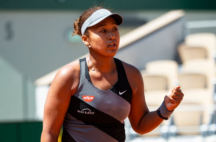 Naomi Osaka of Japan celebrated during her first-round victory at the French Open but later withdrew from the tournament.&nbs