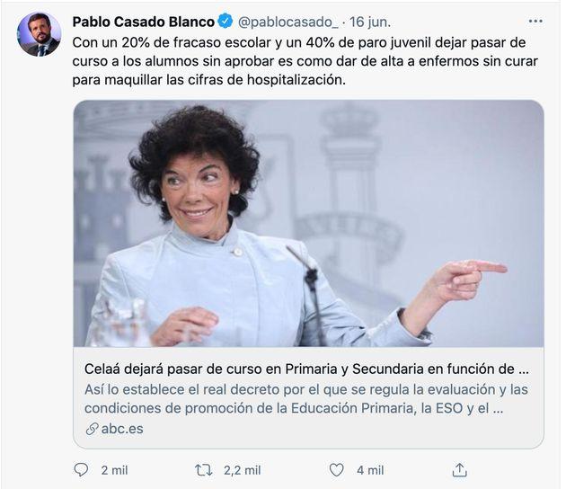 Captura del tuit de Pablo