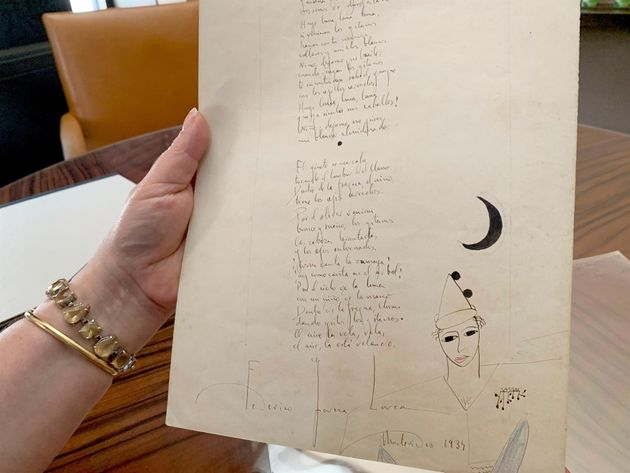 El único manuscrito que se conoce del primer poema del Romancero Gitano, de Federico García Lorca, que...