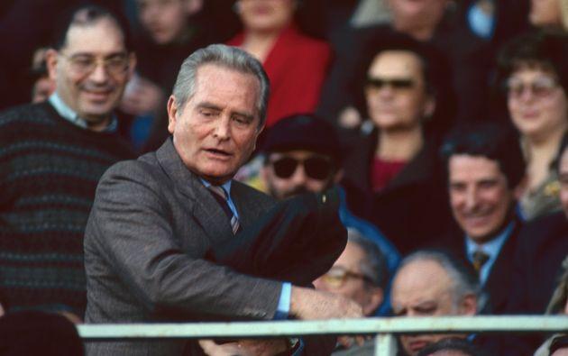 TURIN, ITALY: Juventus president Giampiero Boniperti in stadium grandstand on 1980's in Turin, Italy....