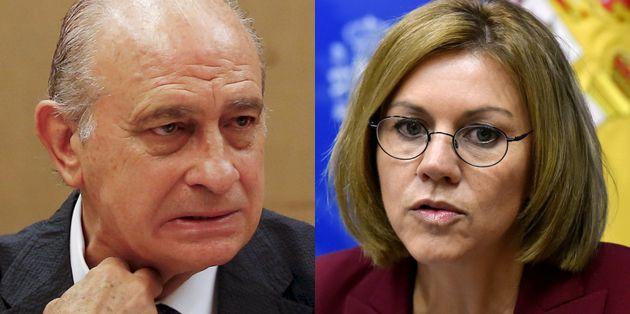 Jorge Fernández Díaz y María Dolores de Cospedal, en sendas imágenes de