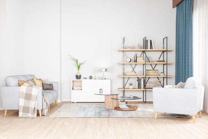 Bookshelf, armchair and sofa in living room