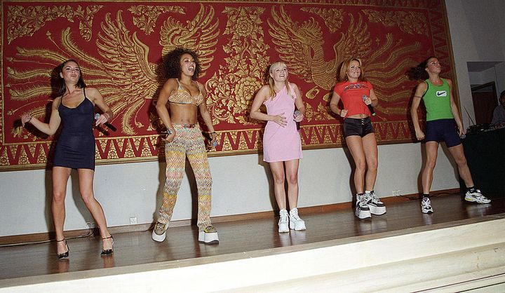 Spice Girls during a performance and press event in Bali, 1997.