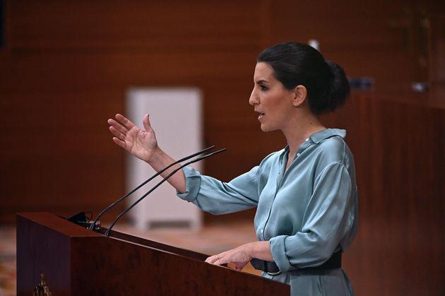 La portavoz de la extrema derecha de Vox, Rocío Monasterio, este viernes en la Asamblea de