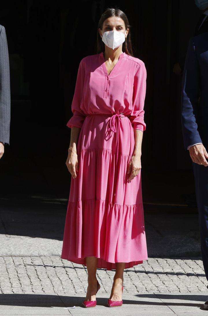 La reina, durante la inauguración de la exposición dedicada a Luis García Berlanga