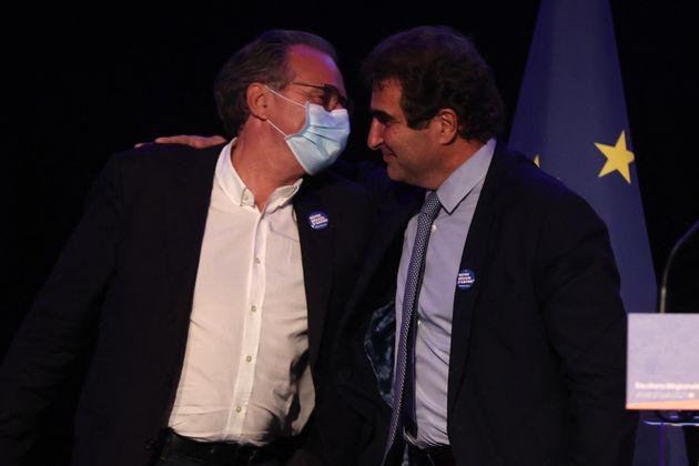 Le candidat LR Renaud Muselier en Paca et le président des Républicains Christian Jacob, à Saint-Raphaël,...