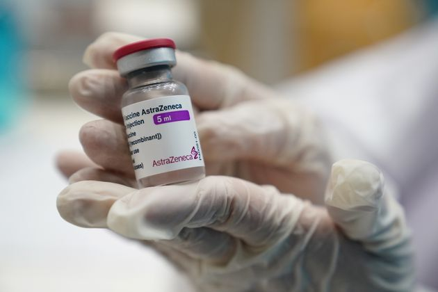 A health worker shows a vial of the AstraZeneca COVID-19 vaccine against the coronavirus disease (COVID-19)...
