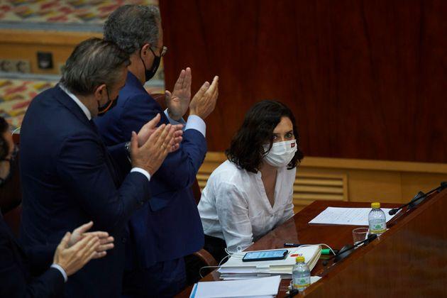 La presidenta de la Comunidad de Madrid, Isabel Díaz Ayuso, este viernes, en la Asamblea