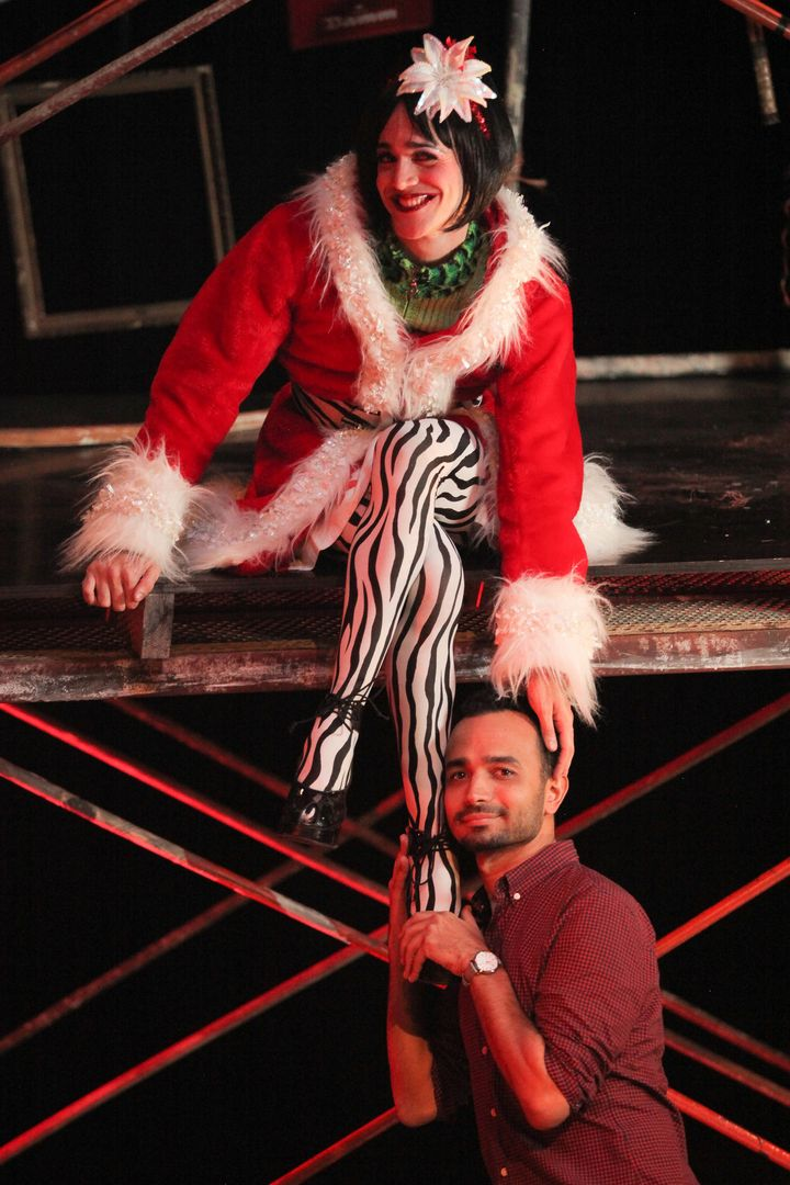 """Señor (right) directs Luis Alberto as Angel in """"Rent."""""""