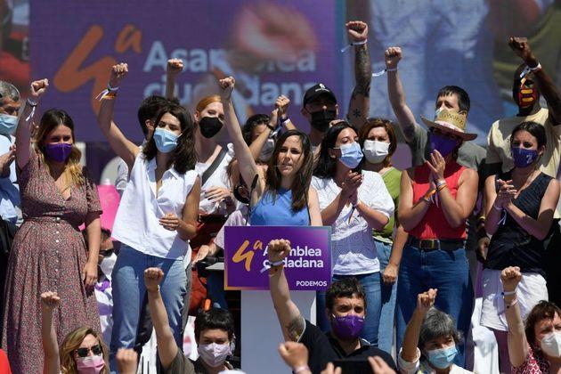 La secretaria general de Podemos, Ione Belarra, el pasado domingo en la Asamblea Ciudadana que la catapultó...
