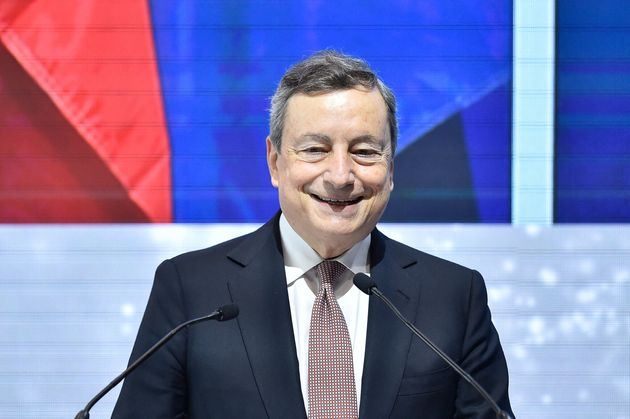 Italy's Prime Minister Mario Draghi gives a speech at the annual Economic Forum in Barcelona on June...
