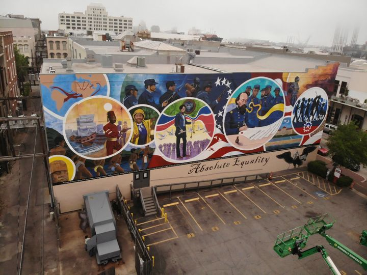 """The """"Absolute Equality"""" mural in Galveston was painted by Houston-based artist Reginald C. Adams and five artists called the"""