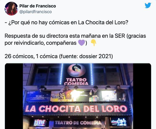 Captura de un tuit de la cómica y guionista Pilar de
