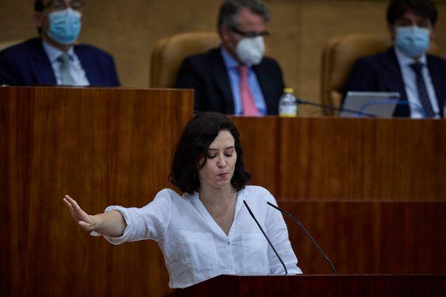Isabel Díaz Ayuso durante la sesión de investidura en la Asamblea de