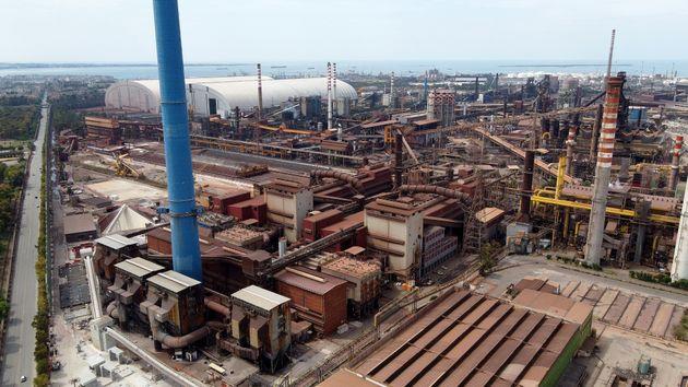 TARANTO, ITALY - JUNE 06: Views of the Ilva steel plant on June 06, 2021 in Taranto, Italy. Ilva has...