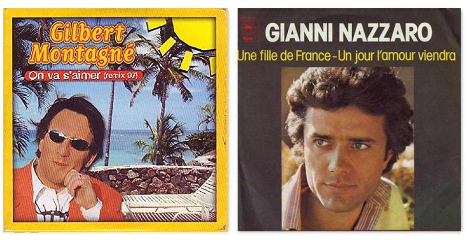 Le copertine dei brani di Gilbert Montagné e di Gianni
