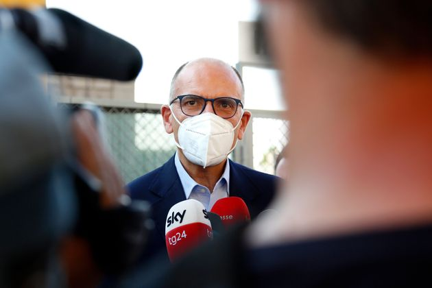 The secretary of Democratic Party Enrico Letta during the visit at Tor Bella Monaca Theatre, in the in...