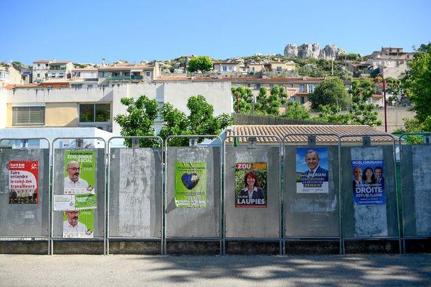 Campagne électorale à Pennes-Mirabeau, près de Marseille, le 11 juin