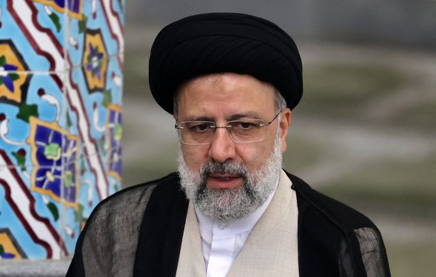TOPSHOT - Iranian ultraconservative cleric and presidential candidate Ebrahim Raisi gives a news conference...