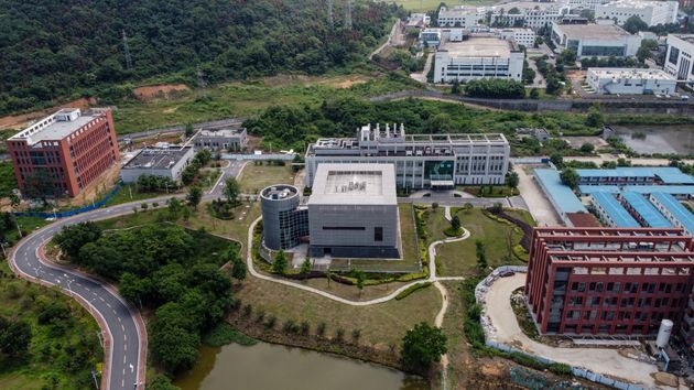 This aerial view shows the P4 laboratory (C) on the campus of the Wuhan Institute of Virology in Wuhan...