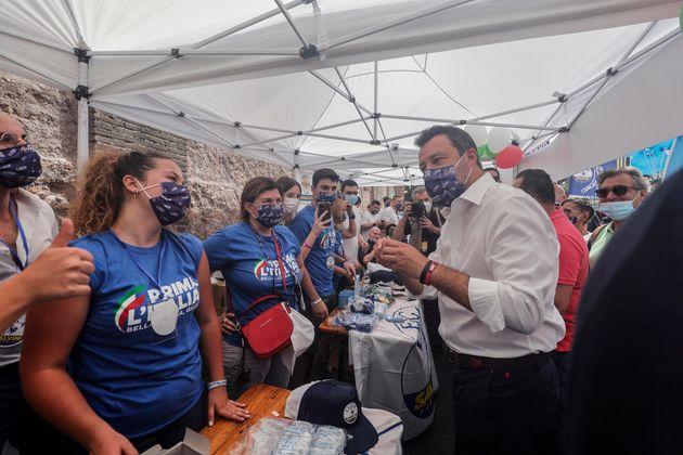 Matteo Salvini in piazza della Bocca della Verita' durante la manifestazione della Lega ''Prima l'Italia!...