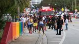 WILTON MANORS, FLORIDA - JUNE 19: Police investigate the scene where a pickup truck drove into a crowd of people at a Pride parade on June 19, 2021 in Wilton Manors, Florida. One person died and one was injured in the incident that is still under investigation. (Photo by Jason Koerner/Getty Images)