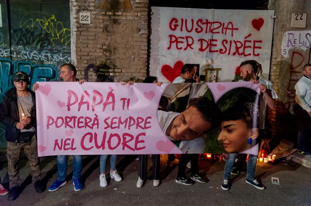ROME, ITALY - OCTOBER 25: Torchlight procession for Desiree Mariottini, the 16-year-old girl murdered...