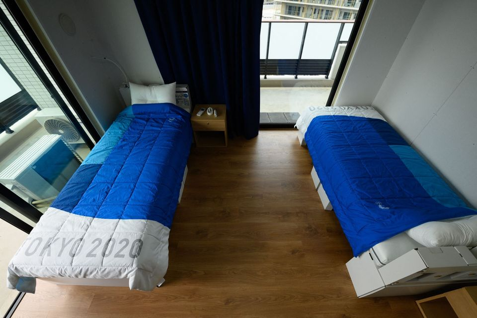Recyclable cardboard beds and mattresses for athletes during a media tour at the Olympic and Paralympic...