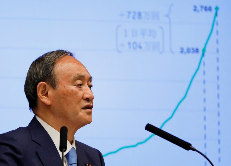 Japan's Prime Minister Yoshihide Suga speaks during a press conference on the Covid-19 coronavirus, at...