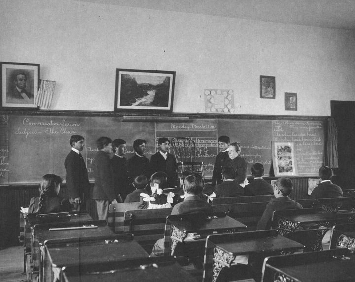 Boys are seen at the Indian Industrial School, which shut down in 1918.The remains of 10 Native American children who d