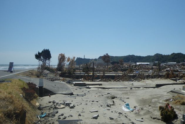 中川さんがサーフィンを楽しんでいた東北の海岸。東日本大震災で津波の被害を受けた