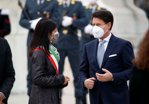 Prime Minister Giuseppe Conte and the Mayor of Rome Virginia Raggi attends to National Unity and Armed...
