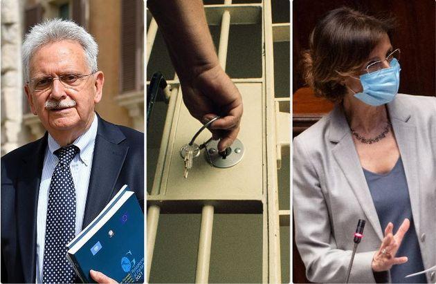 A sinistra il Garante delle persone private della libertà, Mauro Palma. A destra la ministra della Giustizia,...